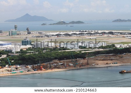 HONG KONG - AUG 8, 2014: Hong Kong International Airport on Aug 8, 2014 in Hong Kong, China . The airport is named the World's Fourth Best Airport in the annual passenger survey by Skytrax.