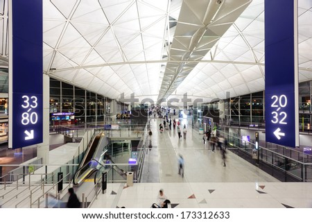HONG KONG, CHINA - APRIL 11: Hong Kong International Airport interior on April 11, 2010 in Hong Kong, China. The one of the best airport in the annual passenger survey by Skytrax.