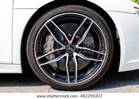 Hong Kong, China July 7, 2016 : Audi R8 2016 Wheel  on July 7 2016 in Hong Kong.