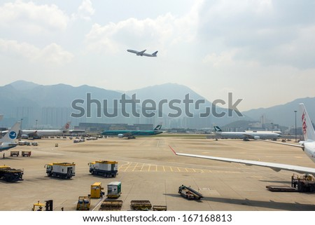 Hong Kong, China - Oct 9: A United airline plane departure on Oct 9, 2013 from the Hong Kong International Airport. About 90 airlines operate flights from HKIA to over 150 cities across the globe.