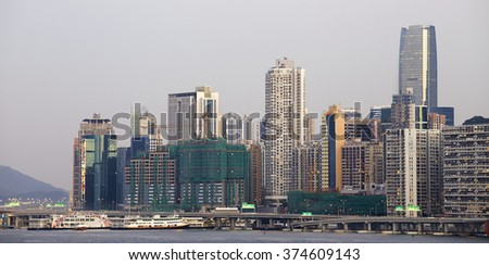 Hong Kong cityscape , crowded building