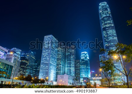 HONG KONG - FEBRUARY 07, 2015: Hong Kong skyline and traffic at night on February 07 2015 in Hong Kong. This city is renowned because is one of the World's leading international financial centres.