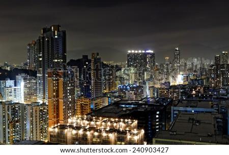 Urban Area At Night Urban City Nigh...