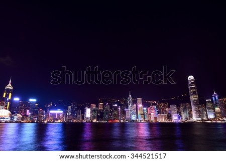 HONG KONG - NOVEMBER 13, 2015 : The Victoria Barbour in Hong Kong is world-famous for its dramatic panoramic night view.