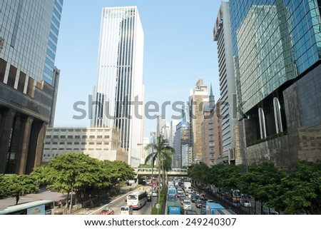 HONG KONG - September 25: view of the busy streets of modern Hong Kong on September 25, 2013 in Hong Kong, China
