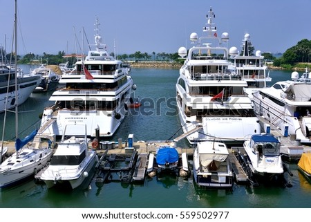 HONGKONG - SEPTEMBER 15: Yachts and boats in Hongkong gold coast harbor, on September 15, 2016 in Hongkong, China. Hongkong is a big international city in South of China.