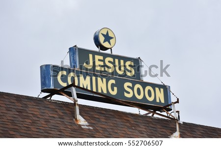 Honolulu Hawaii, USA - November 25, 2016: View of a sign on the roof of a Christian church reading 'Jesus Coming Soon'. The place of worship is the Apostolic Faith Church in Palolo Valley.