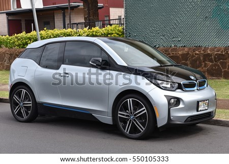Honolulu, USA - November 24, 2016: A BMW i3 sits parked on a city centre street. The i3 is BMW's first zero emissions mass produced electric vehicle with global sales surpassing 50,000 cars in 2016.