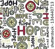 hope retro colors hand drawn graffiti seamless pattern on white background raster version  - stock