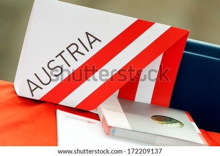 Horizontal colour image of austria information material on a desk