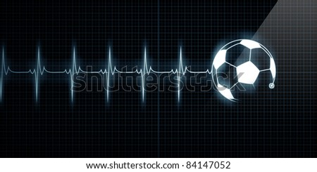 Horizontal Pulse Trace Heart Monitor with a soccer ball in line. Concept for sports medicine, soccer players, or die-hard soccer fans.
