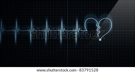 Horizontal Pulse Trace Heart Monitor with the symbol of a broken heart in line with the pulse. Concept for broken heart or heart attack.