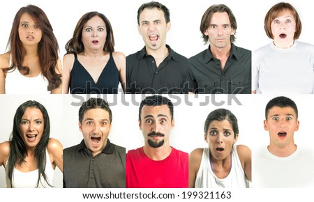 Horrified and frightened adults head and shoulders multiple faces