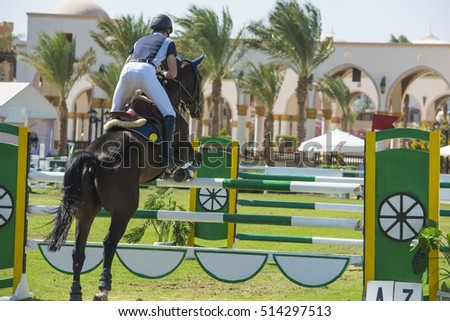 Horse and rider jumping a hurdle while competing in equestrian showjumping competition event
