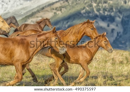 Horses stampede in Montana,digital oil painting