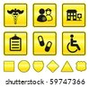 Hospital Icons on Yellow Sign Button Collection Original Illustration - stock vector