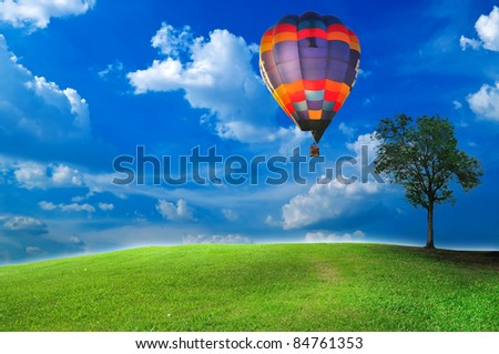Hot air balloon over the green field with lonely tree under the blue sky