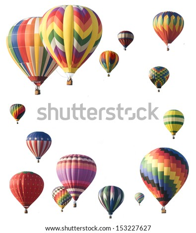 Hot-air balloons arranged around edge of frame allowing space for text in the center of a white background