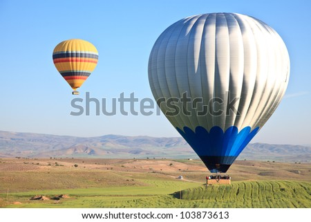 Hot air balloons at dawn in Cappadocia, Turkey