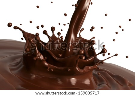 Hot chocolate splash close-up, isolated on white background.