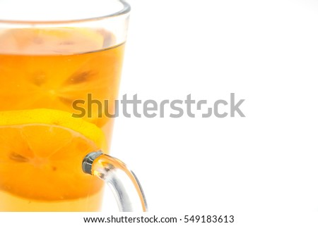 Hot citrus drink with alcohol, product photography for restaurant, winter hot drink