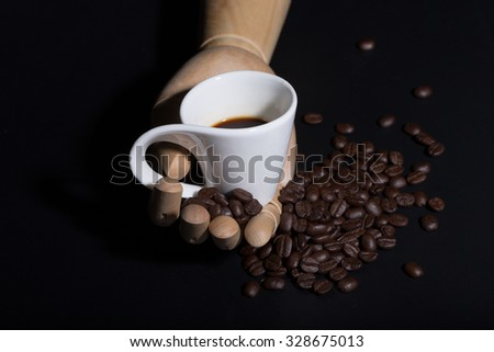hot coffee and coffee beans. Still Life
