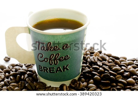 Hot coffee in paper cup, Coffee beans on white background, Coffee, Aroma, Caffeine, Coffee break, Coffee Wallpaper