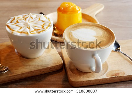 Hot coffee with desserts