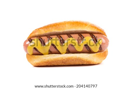 Hot dog bread and sausage roll. Isolated on a white background.