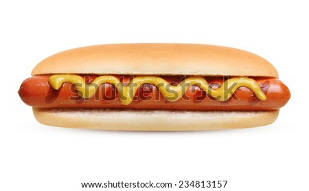 Hot dog grill with mustard isolated on white background.