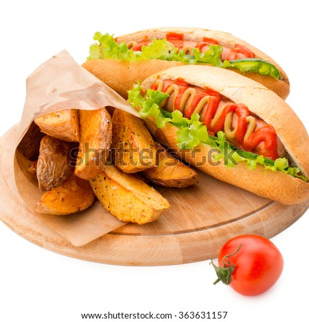 Hot dog. Grilled hot dogs with mustard and ketchup