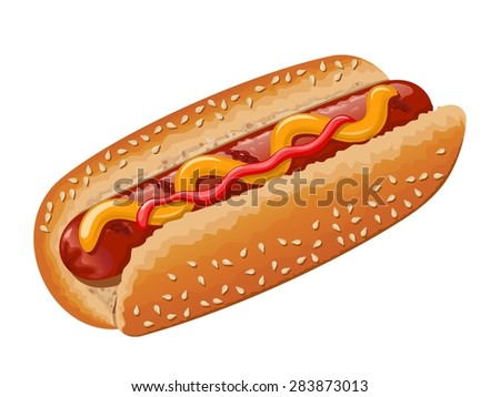 Hot dog with grilled sausage, mustard and some ketchup. Raster version