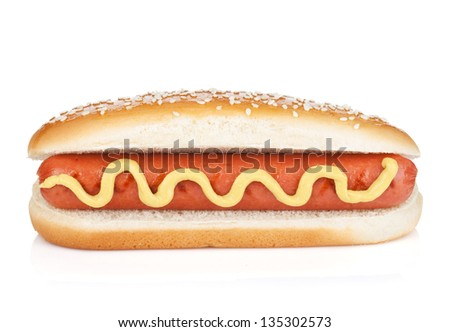 Hot dog with mustard. Isolated on white background