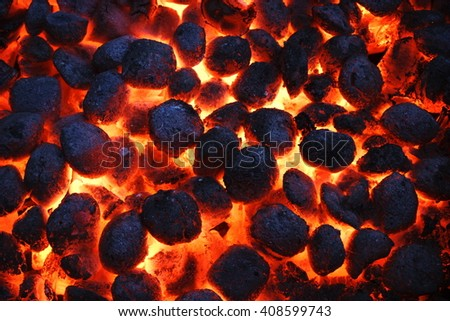 Bbq Grill Pit Glowing Flaming Hot Stock Photo 385655782