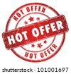 Hot offer grunge stamp - stock vector