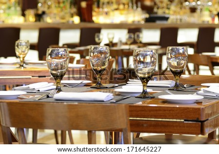 Hotel restaurant dining concept of food and entertainment