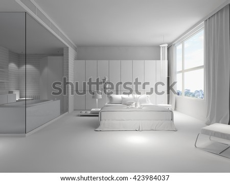 Hotel room with bed and bath tube 3d rendering in white