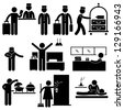Hotel Services Receptionist Bellboy Housekeeper Worker Customer Visitor Stick Figure Pictogram Icon - stock photo