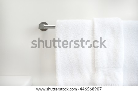 Hotel towels in bathroom