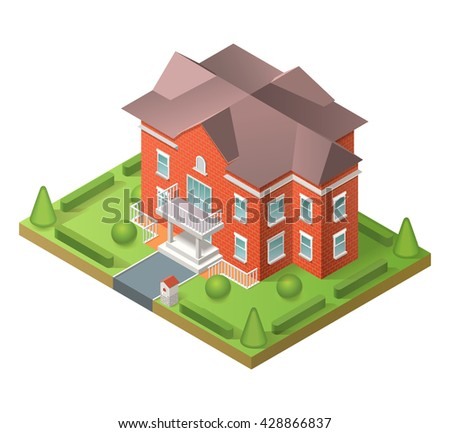 House and building. Isometric flat illustration with house and yard. Raster version