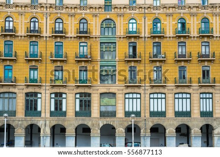 House facades in Bilbao along the Nervion river that runs through the city into the Cantabrian Sea. The apartment blocks are situated in the districts San Frantzisko and Bilbao la Vieja