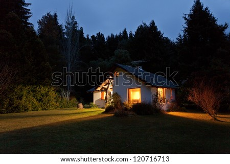 House in the forest at night