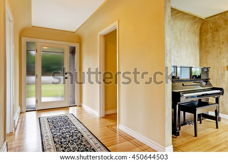Empty Room Fireplace Chairs Rug Old Stock Photo 110333966