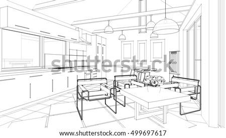 House Interior Sketch 3d Illustration