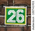 House number twenty-six ,made out of 'iron on beads' - stock photo