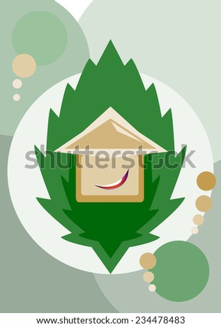 House smiling on a leaf background