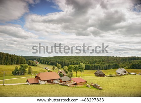 Houses and fields of the German Farmers.Black Forest. Germany.