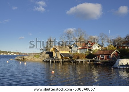 Houses by the water in Vaxholm, Stockholm archipelago