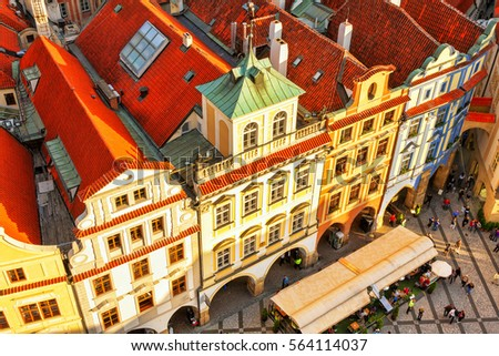 Exceptional Houses With Traditional Red Roofs In Prague. Old Town Square In The Czech  Republic.