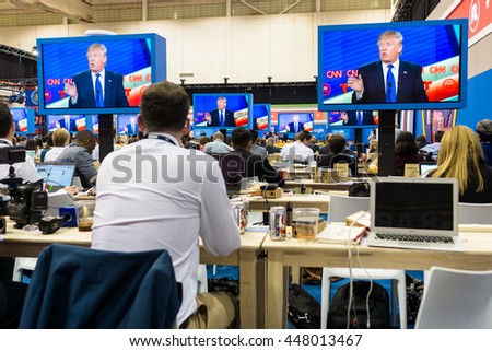HOUSTON - FEBRUARY 25, 2016: Members of the media watch the RNC debate.